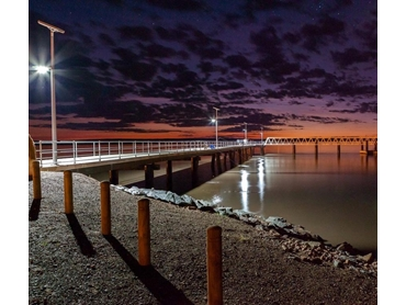 Orion Solar lights installed at Wyndham Jetty picture courtesy of Maritime Constructions.