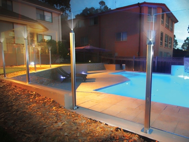 Low Profile Post System with LED Lighting from Dimension One Glass Fencing l jpg