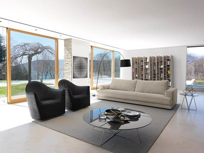Modern living room interior with insulated glass