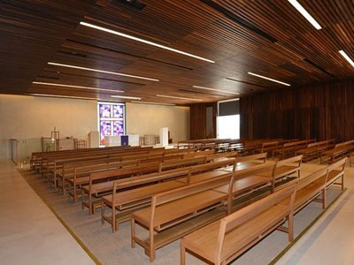 church interior dark timber ceiling intergrated lights