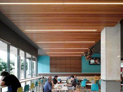 cafe timber ceiling intergrated LED lights