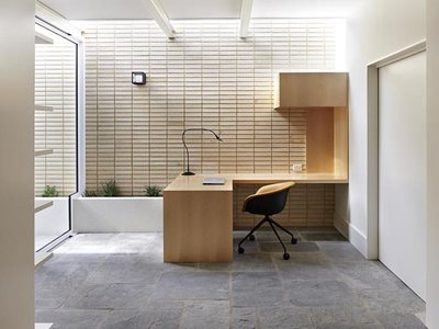 Office interior with white internal decorative brick wall