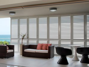 Exterior: Superb Security Plantation Shutters