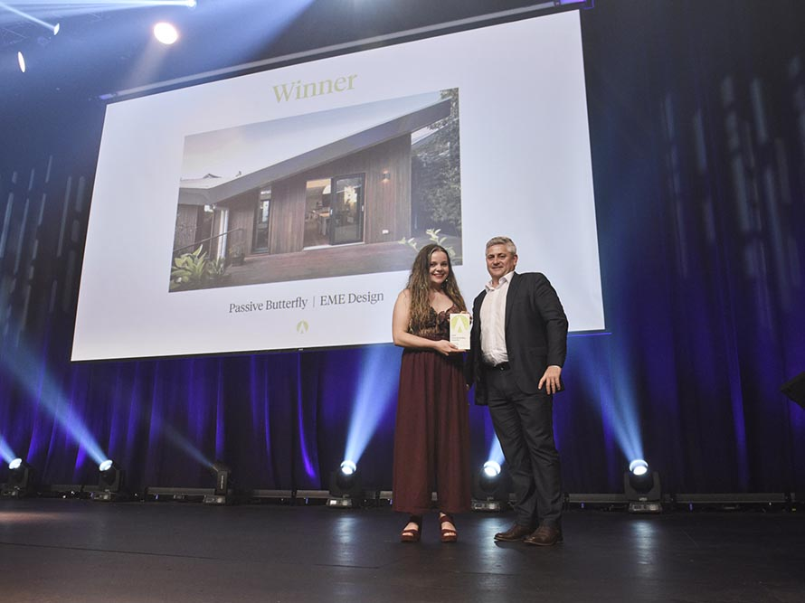Bohemia Hookham accepting the Best of the Best Award at the 2018 Sustainability Awards, held, October 11, at The Star, Sydney.