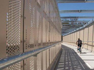 Stoddart fabricated perforated anti-throw screens for the overpass bridge