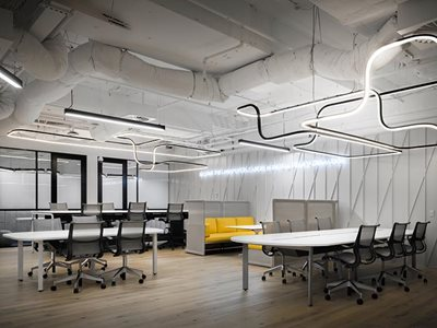Gineico Lighting flexible linear lighting in office interior