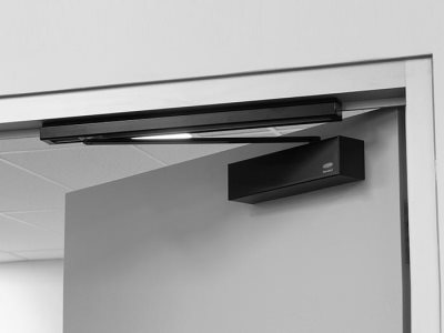 Lockwood Door Closer Matte Black Insitu Open
