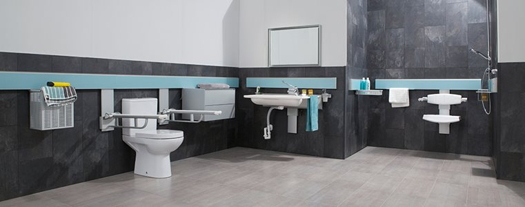 Modern-accessible bathroom interior with adjustable hardware