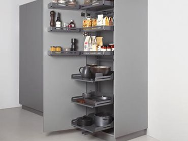 A gentle tug is all it takes to open the Pleno Plus larder unit's door and bring all the shelves out at the same time