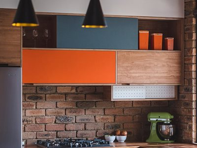 Gerda Fanning Koskisen Decorative Panel Colourful Kitchen Interior