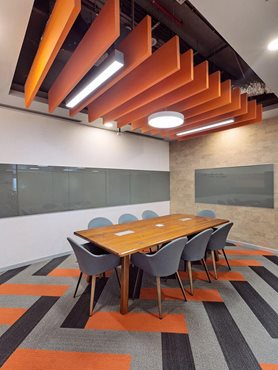 Armstrong acoustic systems in meeting space interior