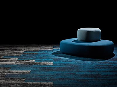 Signature floors textured directional carpet planks in blue and gray