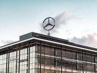 Mercedes office with aluminium non-combustible cladding panel