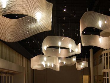 Kaynemaile is used to elevate ceiling designs with beautiful sculptural pieces
