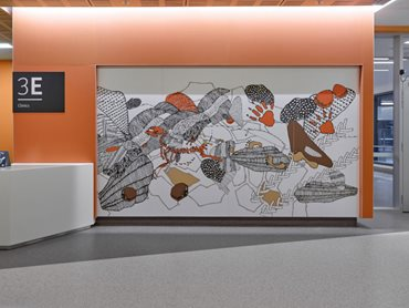 Artist Annalise Rees' beautiful line drawings were printed onto Laminex high pressure laminates