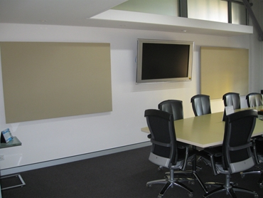 ​PQ Panels in a video conference room from Peace and Quiet Insulation