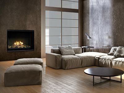 Modern Sleek Residential Interior with Grey Tones and Large Fireplace