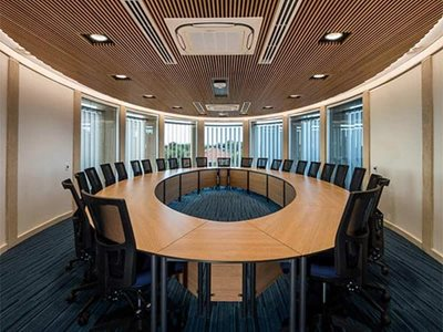 Boardroom interior with aluminium acoustic ceiling slats