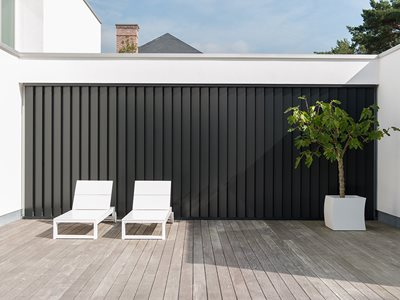 LourvreTech Rectangular Black Louvres on Timber Patio