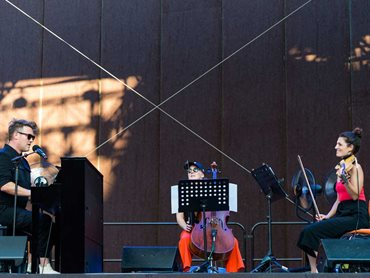 The Malthouse Theatre Outdoor Stage has already hosted artists such as Eddie Perfect (above) and Lano & Woodley