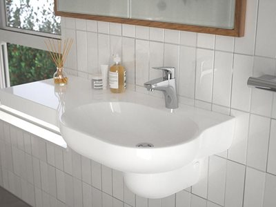 Caroma Opal rails basin detail in bathroom interior