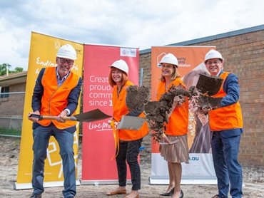 L-R: Peter Inge, Victorian Property Industry Foundation Chair, Susan Barton, Lighthouse Foundation founder, Sarah Bloom, Frasers Property General Manager, Residential Victoria, Simon Benjamin, Lighthouse Foundation CEO
