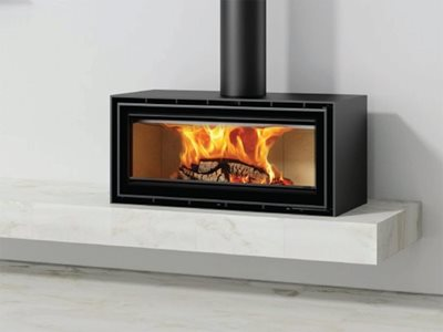 Modern Portugese Wood Fire Heater in Living Space