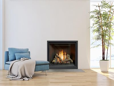 Lopi zero clearance gas fireplace in modern living room interior