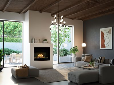 Modern Residential Cosy Interior Timber Ceiling with Large Fireplace