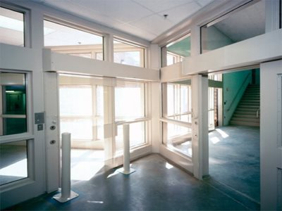 Foyer-of-Building-Interior-with-Safety Glass