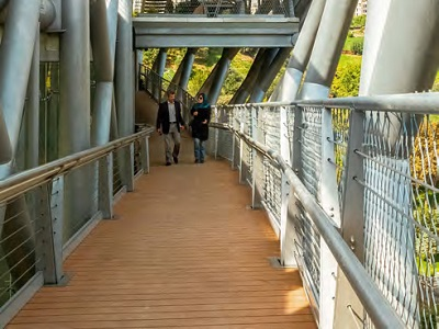 Tabiat Pedestrian Bridge featuring Naxan decking and seating