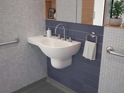 Caroma Care Collection aged care bathroom products insitu