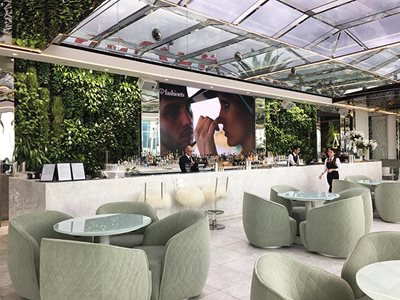 Hotel bar interior with green verticle garden