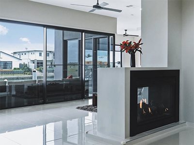 Lopi minimal double sided gas fireplace in modern living room interior