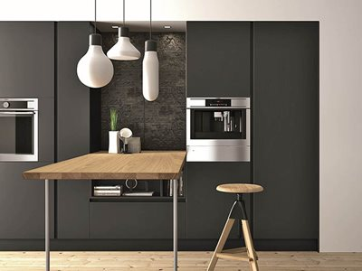 residential kitchen black cupboards