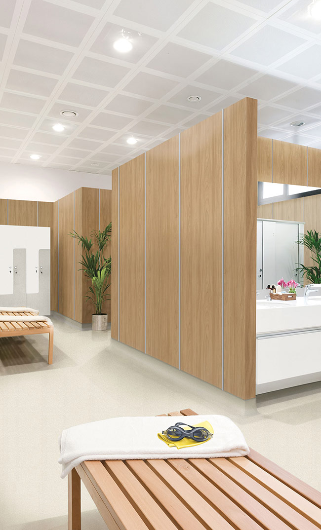 Altro Whiterock Wood look hygienic walling in Locker Room