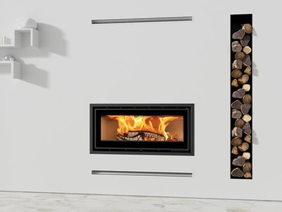 Recessed wall fireplace in modern home interior