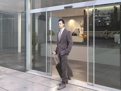 Corporate building exterior with sliding doors
