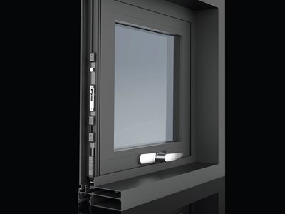 Detailed product image of window with multi point lock system