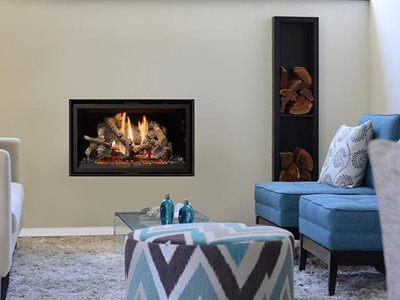 Lopi traditionally sized gas fireplace in living room interior