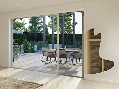 Freedom cut through wall retractable screens large openings