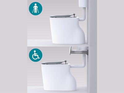 Detailed product image of Caroma Care Cleanflush toilet wheelchair and crutches