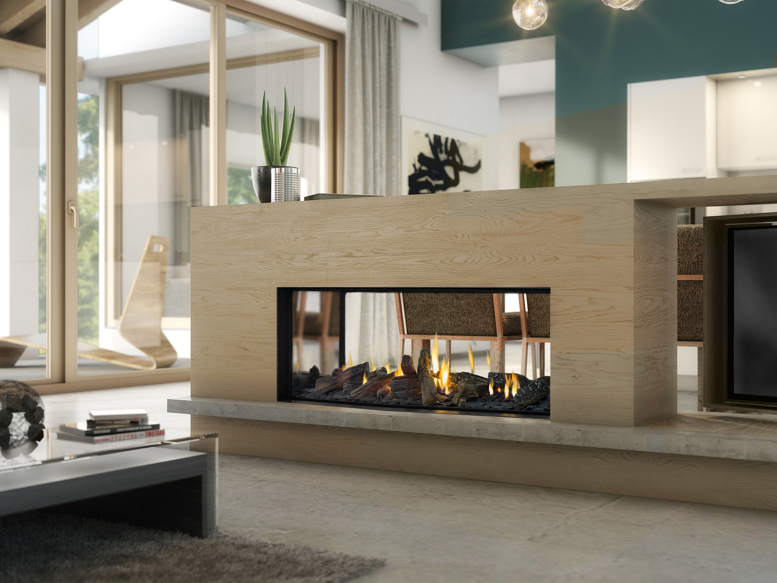 Escea DX Series - Double sided fireplace