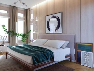 Havwoods PurePanel real timber veneer panels in a bedroom (HW31018 - BLANCO - Bedroom Wall Cladding)