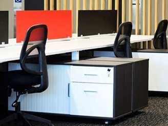 Perspex® Frost Workstation dividers used in the office