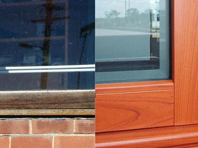 Left: Real wood; Right: DecoWood Western Red Cedar