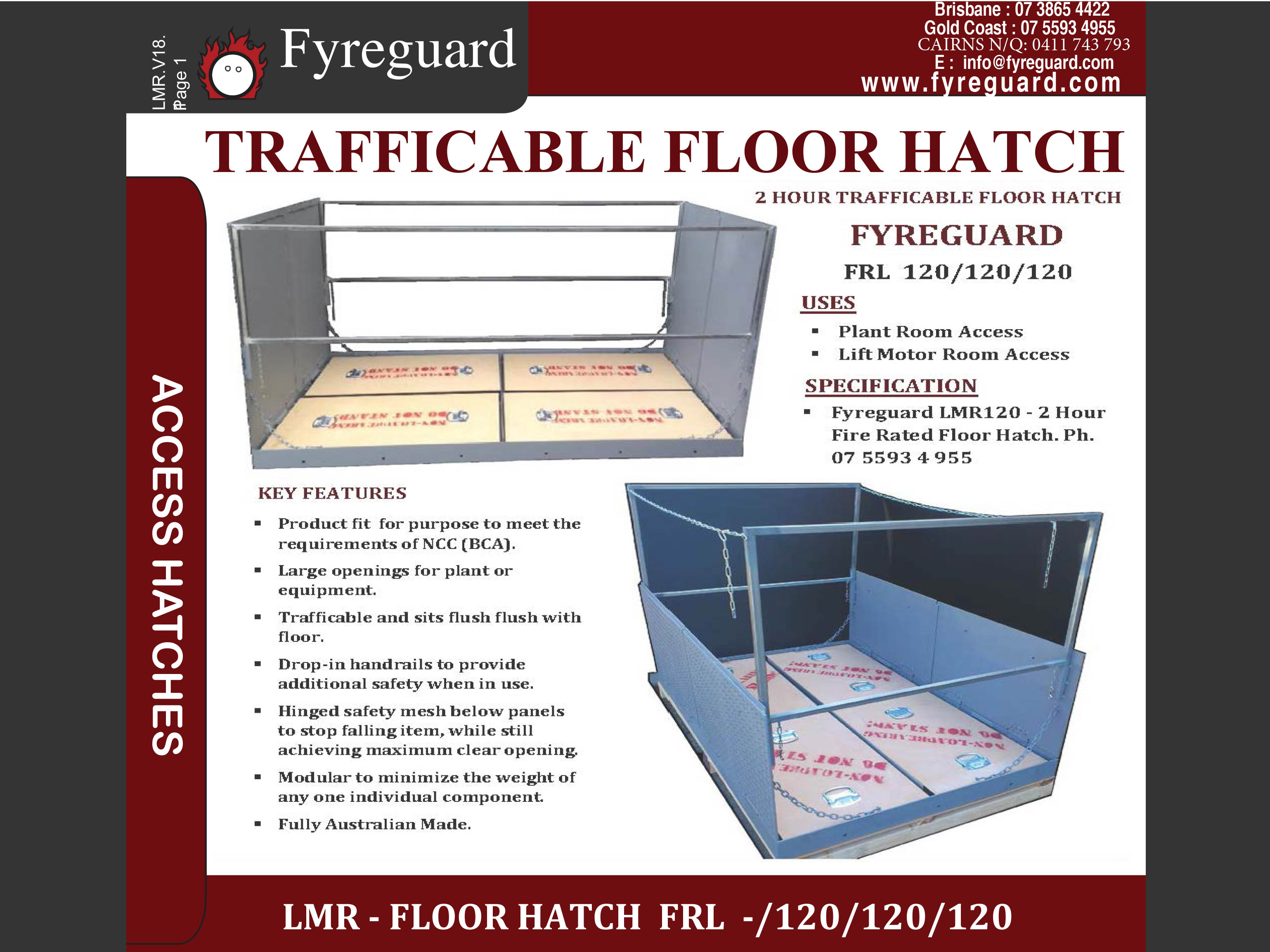 2 Hour trafficable - Flush fitting, floor hatch