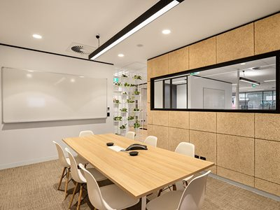 Meeting room interior with acoustic wall panels