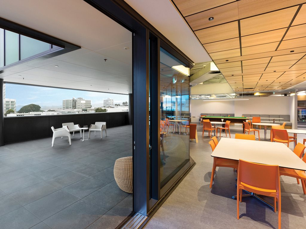 Modern commercial rooftop featuring outdoor tiles