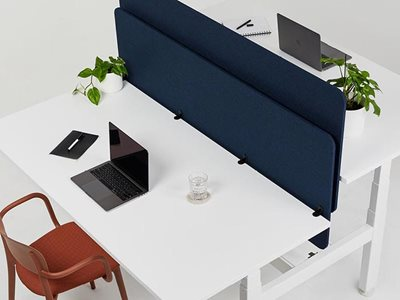Autex Vicinity lightweight acoustic desk screens in navy